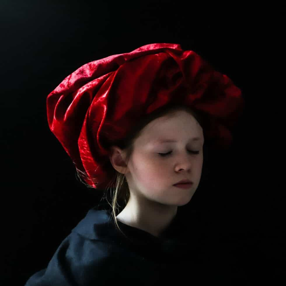 Girl in the red turban (eyes closed version)