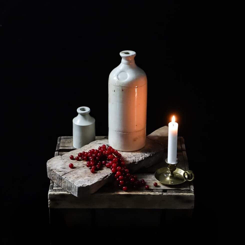 Stoneware bottle & candle..version #2