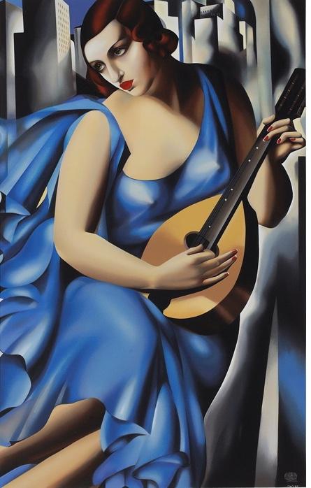 Femme Blue a la Guitare
